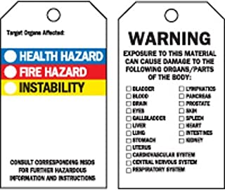 """Brady 76229, 5.75""""x3"""" B-302 Target Organs Affected Tag, Black/Blue/Red/Yellow on White, 4 Packs of 25 pcs"""
