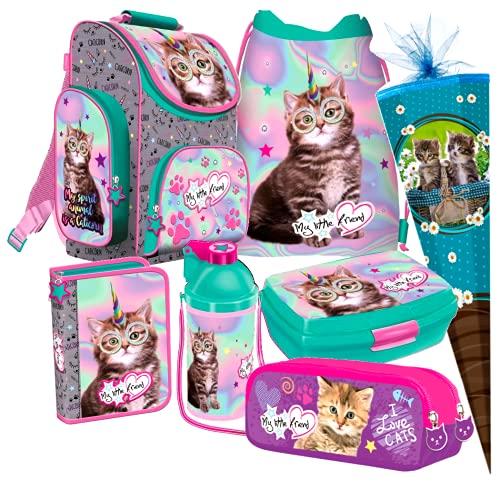 Katze Cat Einhorn Unicorn 7 Teile Set Schulranzen RANZEN SCHULTÜTE 85 Tasche Rucksack Tornister + Sticker von kids4shop
