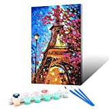 Ginkko Paint by Numbers for Adults Kids Beginners with Wooden Frame Easy Acrylic on Canvas 12x16 inch with Paints and Brushes, Eiffel Under Sycamore(Include Framed)