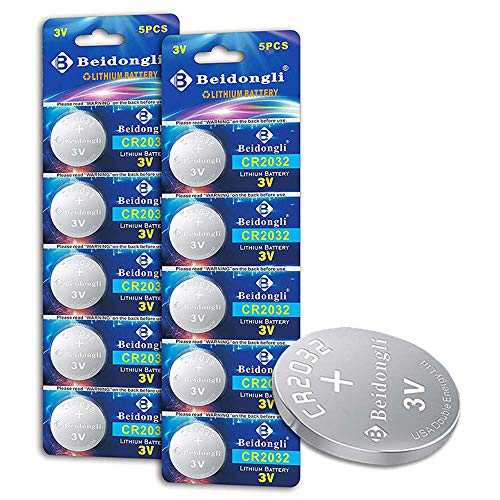 CR2032 Battery 3V Lithium Batteries Coin Button Cell 10 Count 【5-Year Warranty】
