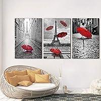 ハングにキャンバス額縁準備エッフェル塔赤い傘フライング風景壁の装飾の絵画と3枚のパネル現代キャンバスプリントパリ黒と白をBLING