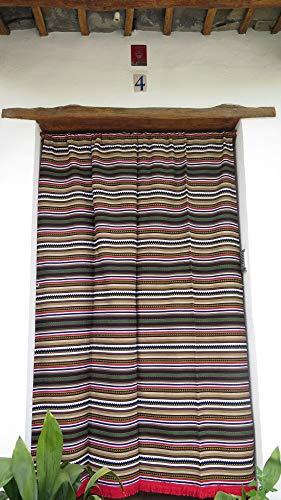 Cortina Alpujarreña Rustica,(160 x 215 cm), Multicolor Color 629 Hecha en España, Fibra Natural de algodón - Cortina para Puerta Exterior mosquitera y Parasol