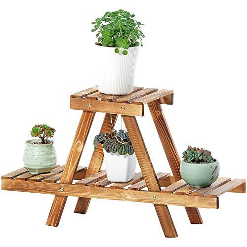 Base para macetas y Plantas 2 Capas de la Mini Planta de Soporte de Madera pequeña Flor Estante de exhibición del Estante del plantador de Interior al Aire Libre Jardín Decoración de Escritorio