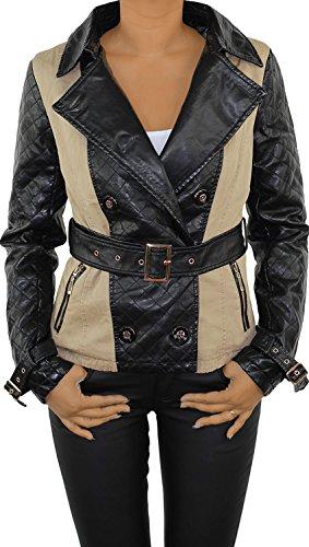 Damen Lederjacke Kunstlederjacke Leder Jacke Damenjacke Jacket Bikerjacke Doppelreiher Beige Schwarz Beige M