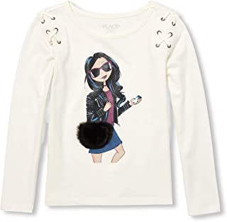 Big Girls' Long Sleeve Laceup Graphic Knit