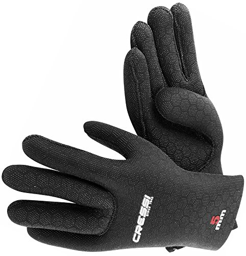 Cressi High Stretch Gloves, Guanti in Neoprene Elastico 5 mm per Apnea e Immersioni, Unisex Adulto, Nero/Rosso, XL