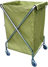 Rolling Laundry cart, Foldable X-Shaped Storage cart, Stainless Steel Laundry Trolley, Detachable Oxford Cloth Bag (24.6x2...