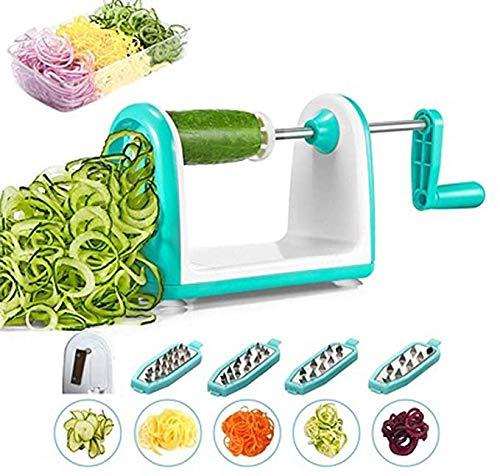 Gaojian Couteau à Spirale avec 4 pales Cubes de Produits Alimentaires, Les légumes et Les oignons Schneider, Coupe Multifonction végétale, Julienne, râpe