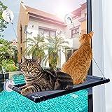 Cama de ventana para gato duradera con 4 grandes ventosas. Soporta hasta 27 kg
