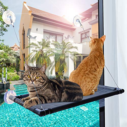 PetIsay Premium Metal Cat Window Hammock Perch Cat Bed Kitty Sunny Seat Durable Pet Perch with Upgraded Version 4 Big Suction Cups Cat Bed Holds Up to 60lbs and Removable Cover is Machine Washable