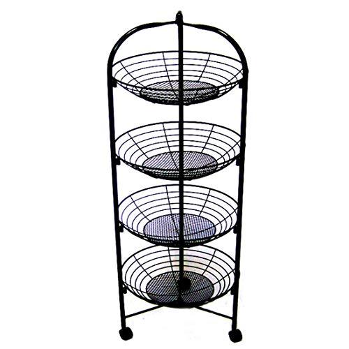Opbergkast voor de keuken, 4 mandjes van ijzer, trolley voor groenten en keuken met wiel voor het opbergen van fruit, wielen, 100 x 37 cm Zwart
