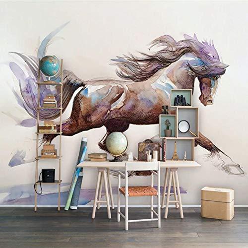 IWJAI fotomurales decorativos pared Correr animal caballo Papel tapiz mural Pintura de pared 3D Dormitorio infantil Autoadhesivo Pegatinas de lona impermeables