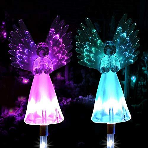 Konesky Lámparas Solar del ángel, 2 Paquetes Exterior Angel Path Estaca Luces Coloridas alas Luminosas Lámparas Adornos de Jardín Iluminación Decorativa (2 Paquetes)