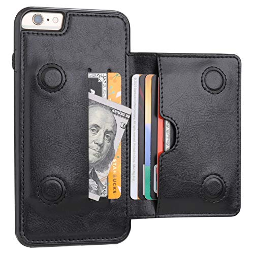 KIHUWEY iPhone 6 Plus iPhone 6S Plus Wallet Case with Credit Card Holder, Premium Leather Kickstand Durable Shockproof Protective Cover for iPhone 6/6S Plus 5.5 Inch(Black)