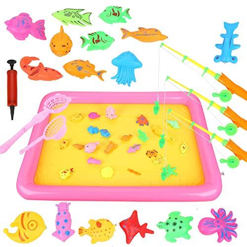 Ulikey 49 Stück Angeln Spielzeug Badespielzeug Badewannenspielzeug Wasserspiel Schwebendes Spielzeug Badewanne zum Angelnlernen Wasserspielzeug Geschenk für Kinder Baby