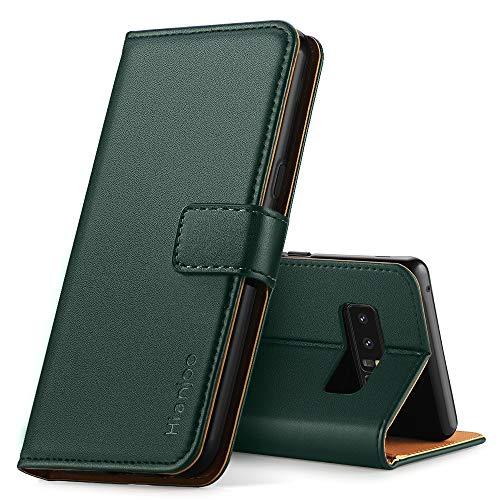 Hianjoo Hülle Kompatibel für Samsung Galaxy Note 8, Handyhülle Tasche Premium Leder Flip Wallet Hülle Kompatibel für Samsung Note 8 [Standfunktion/Kartenfächern/Magnetic Closure Snap], Dunkelgrün