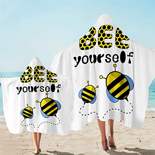 Toalla con capucha Toalla de baño de microfibra con capucha para niños de dibujos animados usable playa abrigo manta colmena