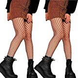 DancMolly Fishnet Stockings Pantyhose Women's 2 Pair High Waist Hollow Mesh Tights Legging Hosiery (Black/Medium Hole,2 Pair, One Size)