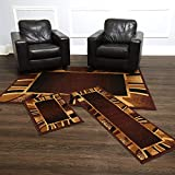 Home Dynamix Konya Contemporary Modern Area Rug 3 Piece Set Border Brown Beige Black