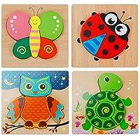 EXTSUD 3D Kinder Holzpuzzle Steckpuzzle Holz Montessori Spielzeug Lernspielzeug Pädagogisches Geschenk für Kinder 1 2 3 Jahre,Weihnachten Geburtstag (Tierpuzzle)