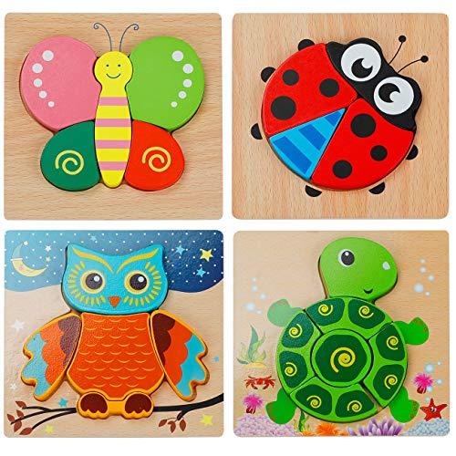 EXTSUD 3D Kinder Holzpuzzle Steckpuzzle Holz Montessori Spielzeug Lernspielzeug Pädagogisches Geschenk für Kinder ab 1 2 3 Jahre,Weihnachten Geburtstag (Tierpuzzle)