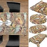 Wachstuchtischdecke abwaschbar Garten Tischdecke Wachstuch Rund Oval Eckig Indoor Outdoor Jagt Wild Jäger Motiv Holz 100x140cm - 3