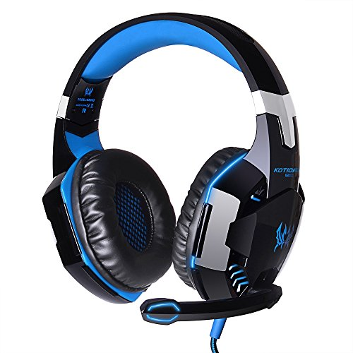 DAMAIFEGN Professional Gaming Headset Each G2000 Stereo Sound 2.2m/86.6in Over-Ear Headphones with Microphone LED Lights Volume Control for Laptop, Mac, iPad, Nintendo Switch Games (Blue)