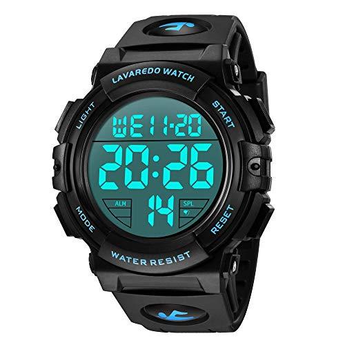 Digital Herren Uhren - Sport Outdoor Armbanduhr 5 ATM wasserdichte Schwarz Uhren mit Wecker/Kalender/Stoppuhr/Stoßfest