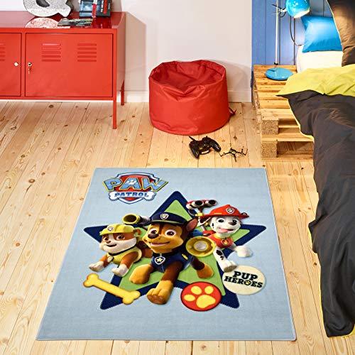 Carpet Studio La Patrulla Canina Alfombra Infantil 95x125cm, Alfombras Lavables para Dormitorio & Cuarto de Jugar, Lavable a Máquina, Fácil de Limpiar, Anti-Deslizante - Pup Heroes