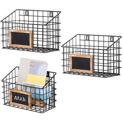 MyGift Set of 3 Wall-Mounted Rustic Wire Storage Baskets wChalkboard Labels