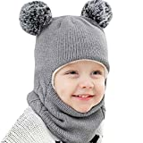 Kid Baby Boy Girl Knitted Hat Hooded Scarf Caps Winter Warm Knit Flap Cap Scarf with Hairball B