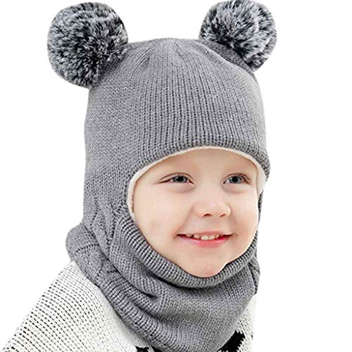 Baby Boy Girl Hooded Scarf Caps,Mooua Kid Hat Winter Warm Knit Flap Cap Scarf (Gray)