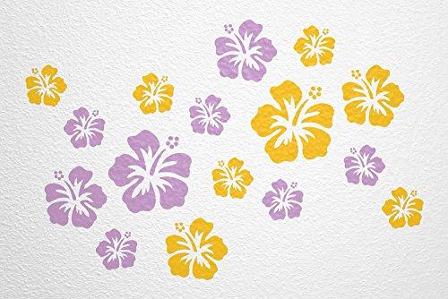 WANDfee® Wandtattoo 16 Hibiskus Blüten AC0611810 Größe Ø 7-15 cm, 2 x Ø 15 cm, 4 x Ø 11 cm, 10 x Ø 7 cm Farbe flieder gelb