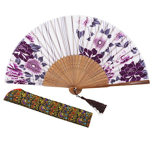 Amajiji 8.27(21cm) Hand Held Bamboo Silk Folding Fan Hand Fan,Chinese/Japanese Charming Elegant Vintage Retro Style,Women Ladys Girls Best Gifts (LXHS1)