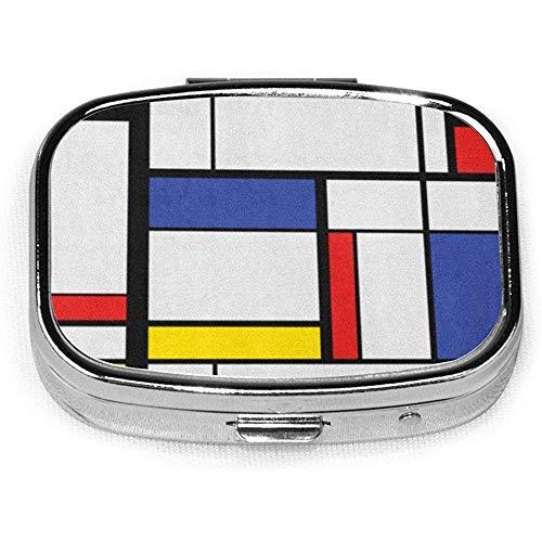 Quadratische Pillendose mit 2 Fächern, tragbar für Taschengeldbeutel, Reise, blaues Muster,...
