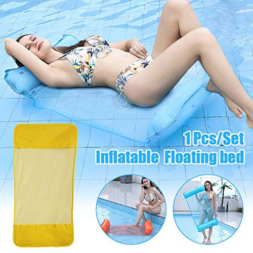 Soul hill Inflatable Hammock,Swimming Pool Float Hammock,Multi-Purpose Pool Lounge Chair Drifter Portable Beach Water Float for Adult zcaqtajro (Color : Yellow)