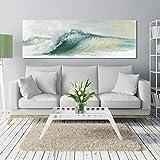 Pintura al óleo de arte abstracto moderno lienzo carteles e impresiones de ondas abstractas imágenes artísticas de pared para la decoración del hogar de la sala de estar 30x90 CM (sin marco)