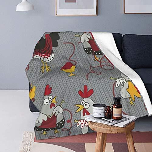 Manta de forro polar gris de pollos rojos, tamaño queen, mantas y mantas para todas las estaciones, suave y mullida manta de franela cálida para sofá, cama, Navidad, patrón de panal verde
