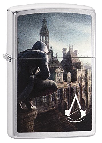 Zippo Assassins Creed-Chrome Brushed-Art-Nr.: 60003502 Sturmfeuerzeug, Silber, 5.8 x 3.8 x 1.8 cm
