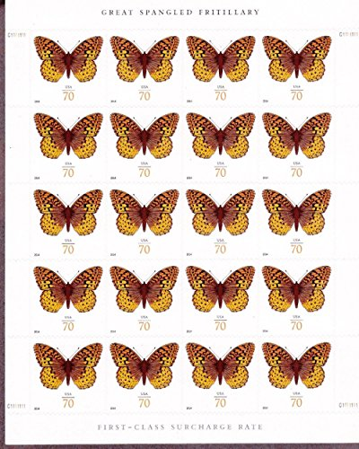 Great Spangled Fritillary Butterfly Sheet of 20 x 70 Cent Stamps, USA 2014, Scott 4859