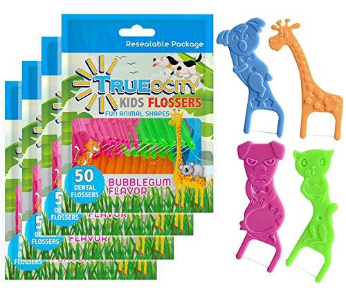 Trueocity Kids Dental Flossers 4 Pack (200 Total), Cute Animal Shapes Makes Flossing Fun, Dental Floss Glides Easy Between Teeth, Flosser Helps Prevent Tooth Decay & Gum Disease, Bubble Gum Flavored