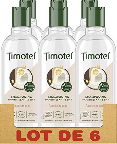 Timotei Shampooing Femme 2en1 Nourrisant Huile de Coco, Nourrit et Démêle, Cheveux déshydratés, Sans silicone, Shampooing et Après-shampooing 2en1 Lot de 6 x 300ml