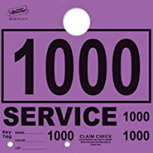 Service Department Hang Tags Window Tag, Purple, Numbers 1000-1999 (1000 Pieces Per Box)