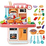 LWQ Cocina Accesorios,Cocina Infantil Kitchen,Children's Kitchen Cooking Toys, Simulation kitchenware Set-B Red 65CM