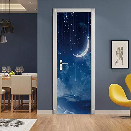 Gzltd Adhesivos para puertas Luna torcida 3D Papel pintado PVC Impermeable y a prueba de aceite,adecuado para decoración de puertas sala de estar,dormitorio,cocina y baño 77x200cm