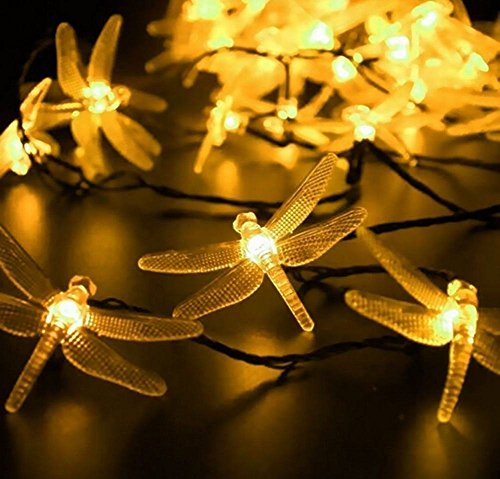 EONANT Dragonfly lights, 20FT/6M 30 LED Solar String Lights with 2 Modes Lights Waterproof for Outdoor, Garden, Christmas Decorations (Warm White)