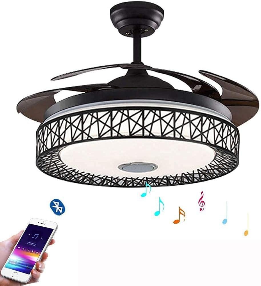 CAIMEI Lámpara Colgante de Luz Colgante Ventilador de Techo Invisible de 42 Pulgadas con Luz Y Control Remoto Ventiladores de Candelabro de Aspas Retráctiles con con 3 Luces Regulables Y 3 Velocidade
