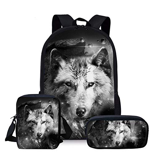 Nopersonality - Juego de 3 mochilas escolares para niños y niñas, lobo (Gris) - Nopersonality