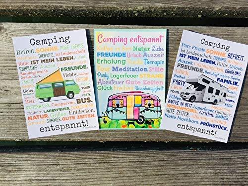 Camping entspannt! Postkarten Set 3 Stück AnneSvea postcard Urlaubsgrüße Camper Bus Wohnmobil Wohnwagen Van Deko Adventskalender Befüllung
