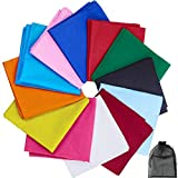 URATOT 12 Pieces Solid Colors Cotton Bandana Handkerchiefs Multifunction Headbands, Assorted 12 Colors